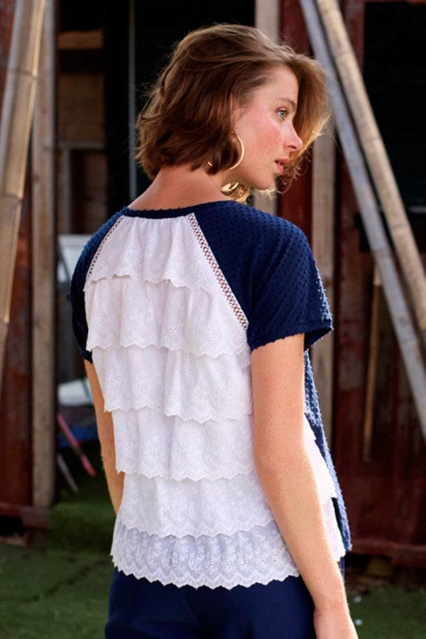 Camiseta combinada volantes espalda